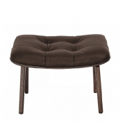 MAMMOTH Ottoman Fluffy Leather Brown Podnóżek